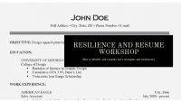 RESILIENCE and Resume WORKSHOP